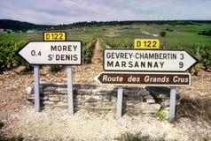 Sinal de estrada ao país de vinho Fotos de Stock