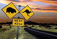 Sinal de estrada australiano Fotografia de Stock Royalty Free