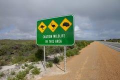 Sinal de estrada australiano dos animais selvagens imagem de stock