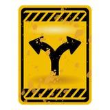Sinal de estrada bifurcado Imagem de Stock