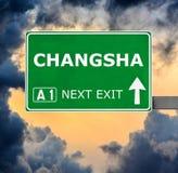 Sinal de estrada de CHANGSHA contra o c?u azul claro fotografia de stock
