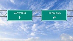 Sinal de estrada com antivirus e problemas das palavras fotografia de stock
