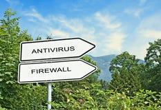 Sinal de estrada com o antivirus das palavras, firewal foto de stock royalty free