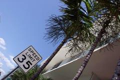 Sinal de estrada com palmeiras Fotografia de Stock Royalty Free