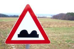 Sinal de estrada com um aviso Imagem de Stock Royalty Free