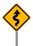 Sinal de estrada Curvy Fotos de Stock Royalty Free