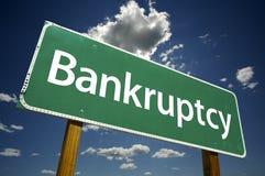 Sinal de estrada da bancarrota Imagem de Stock