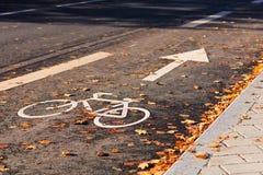Sinal de estrada da bicicleta no asfalto Fotos de Stock Royalty Free