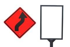 Sinal de estrada da curva adiante Fotos de Stock