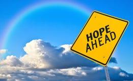 Sinal de estrada da esperança adiante imagem de stock royalty free