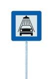 Sinal de estrada da lavagem de carros, polo do cargo, roadsign do tráfego, signage de lavagem isolado azul da borda da estrada do Imagens de Stock