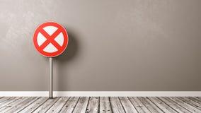 Sinal de estrada da proibição no assoalho de madeira Imagem de Stock