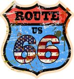 Sinal de estrada da rota 66 do vintage Imagens de Stock