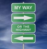 Sinal de estrada da rua minha maneira ou a estrada imagem de stock royalty free