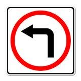 Sinal de estrada da volta esquerda ilustração stock