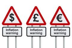Sinal de estrada de advertência da inflação Fotografia de Stock Royalty Free