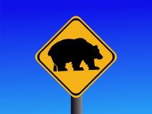 Sinal de estrada de advertência do urso ilustração do vetor