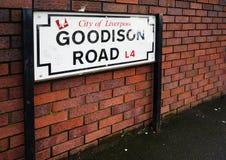 Sinal de estrada de Goodison Fotos de Stock