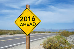 Sinal de estrada do ano novo 2016 adiante Foto de Stock Royalty Free