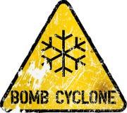 Sinal de estrada do ciclone ou do blizzard da bomba ilustração royalty free