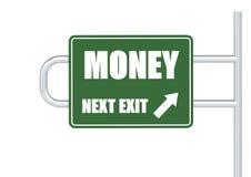 Sinal de estrada do dinheiro Foto de Stock Royalty Free