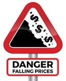 Sinal de estrada do dólar dos preços de queda do perigo Fotografia de Stock
