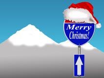 Sinal de estrada do Feliz Natal Imagens de Stock