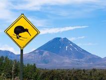 Sinal de estrada do quivi do divertimento de Ngauruhoe da montagem do vulcão ativo Fotografia de Stock Royalty Free
