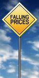 Sinal de estrada dos preços de queda Fotos de Stock Royalty Free