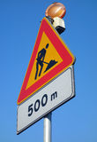 Sinal de estrada dos trabalhos em curso Fotos de Stock Royalty Free