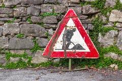 Sinal de estrada dos trabalhos em curso Imagens de Stock Royalty Free