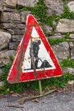 Sinal de estrada dos trabalhos em curso Fotografia de Stock