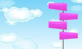 Sinal de estrada em branco cor-de-rosa ilustração royalty free