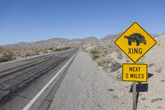 Sinal de estrada engraçado da tartaruga Foto de Stock