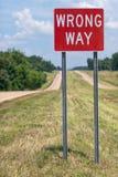 Sinal de estrada errado da maneira Fotografia de Stock Royalty Free