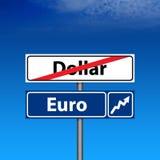Sinal de estrada a extremidade do dólar, euro acima Fotografia de Stock