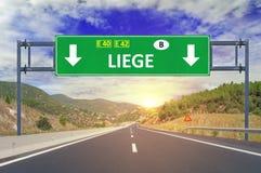 Sinal de estrada de Liege na estrada Fotografia de Stock Royalty Free