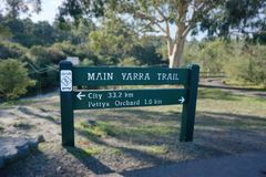 Sinal de estrada principal australiano da fuga de Yarra que indica a distância imagens de stock
