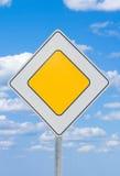 Sinal de estrada - prioridade fotografia de stock