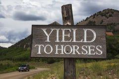 Sinal de estrada que diz o rendimento aos cavalos, Colorado, EUA Foto de Stock