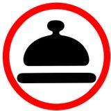 Sinal de estrada vermelho circular do emblema especial da refeição isolado no fundo branco Imagens de Stock