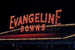 Sinal de Evangeline Downs Race Track Neon Fotos de Stock