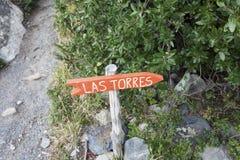 Sinal de Las Torres Fotos de Stock Royalty Free