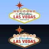 Sinal de Las Vegas. Dia e noite. Vetor Fotografia de Stock