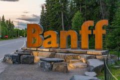 Sinal de madeira Alberta de Banff Canadá, Canadá imagens de stock royalty free