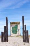 Sinal de madeira bem-vindo no EL Leoncito, Argentina Fotografia de Stock Royalty Free