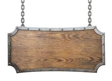 Sinal de madeira com o quadro do metal isolado no branco Imagem de Stock Royalty Free
