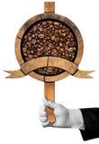 Sinal de madeira com os feijões de café Roasted Imagem de Stock Royalty Free