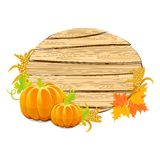 Sinal de madeira da ação de graças feliz com a colheita Fotografia de Stock Royalty Free