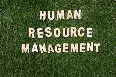 Sinal de madeira da gestão de recursos humanos na grama Imagens de Stock Royalty Free